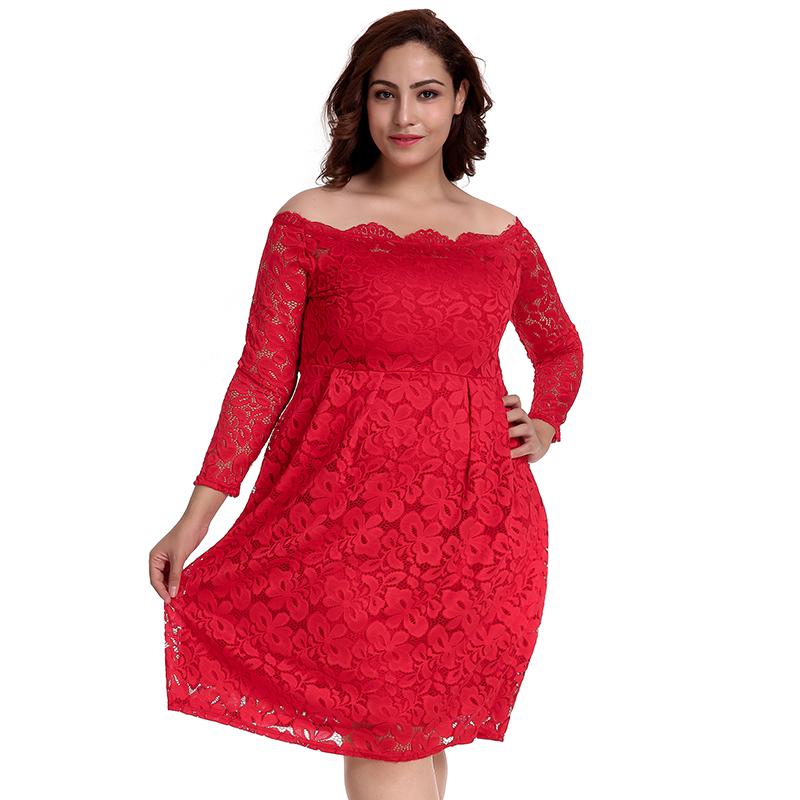Großhandel rot spitze XXL größe fett frauen elegante casual kleid