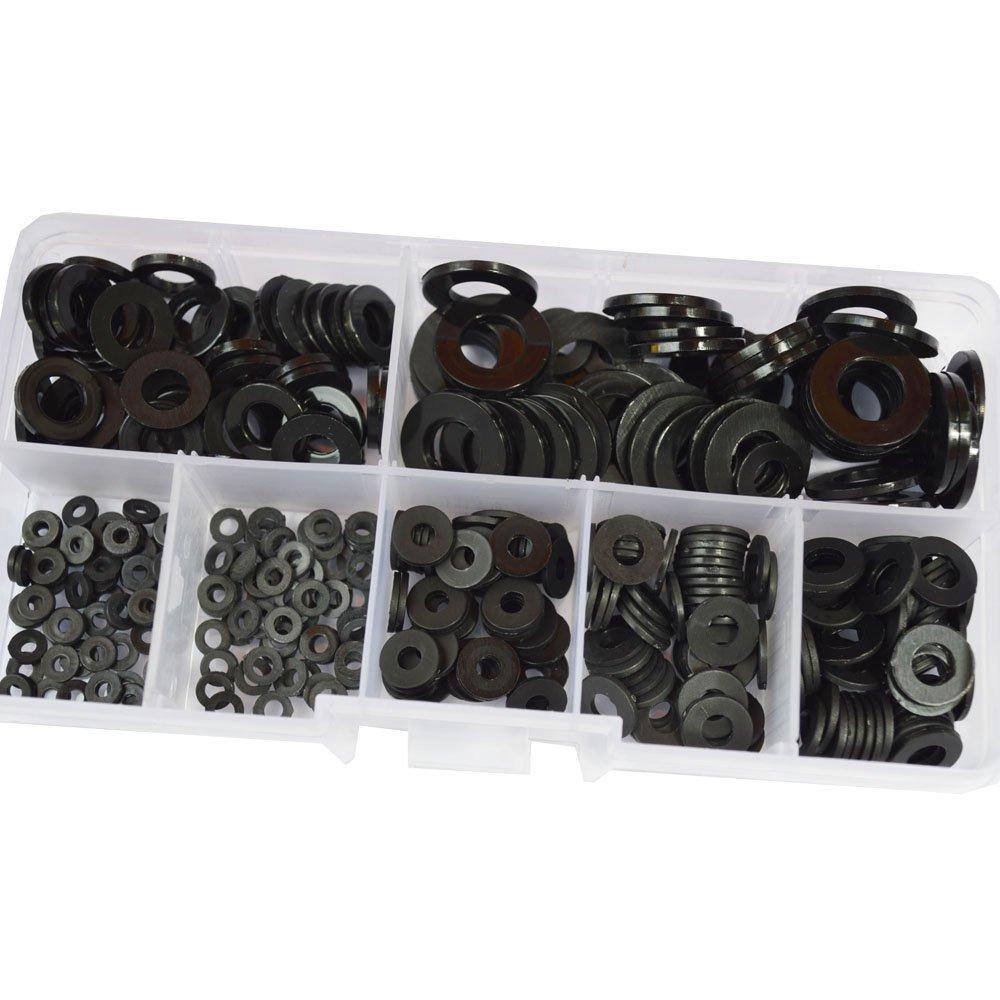 Nylon Flat Round Plastic Washer M2 M2.5 M3 M4 M5 M6 M8 Assortment Kit Black 350pcs