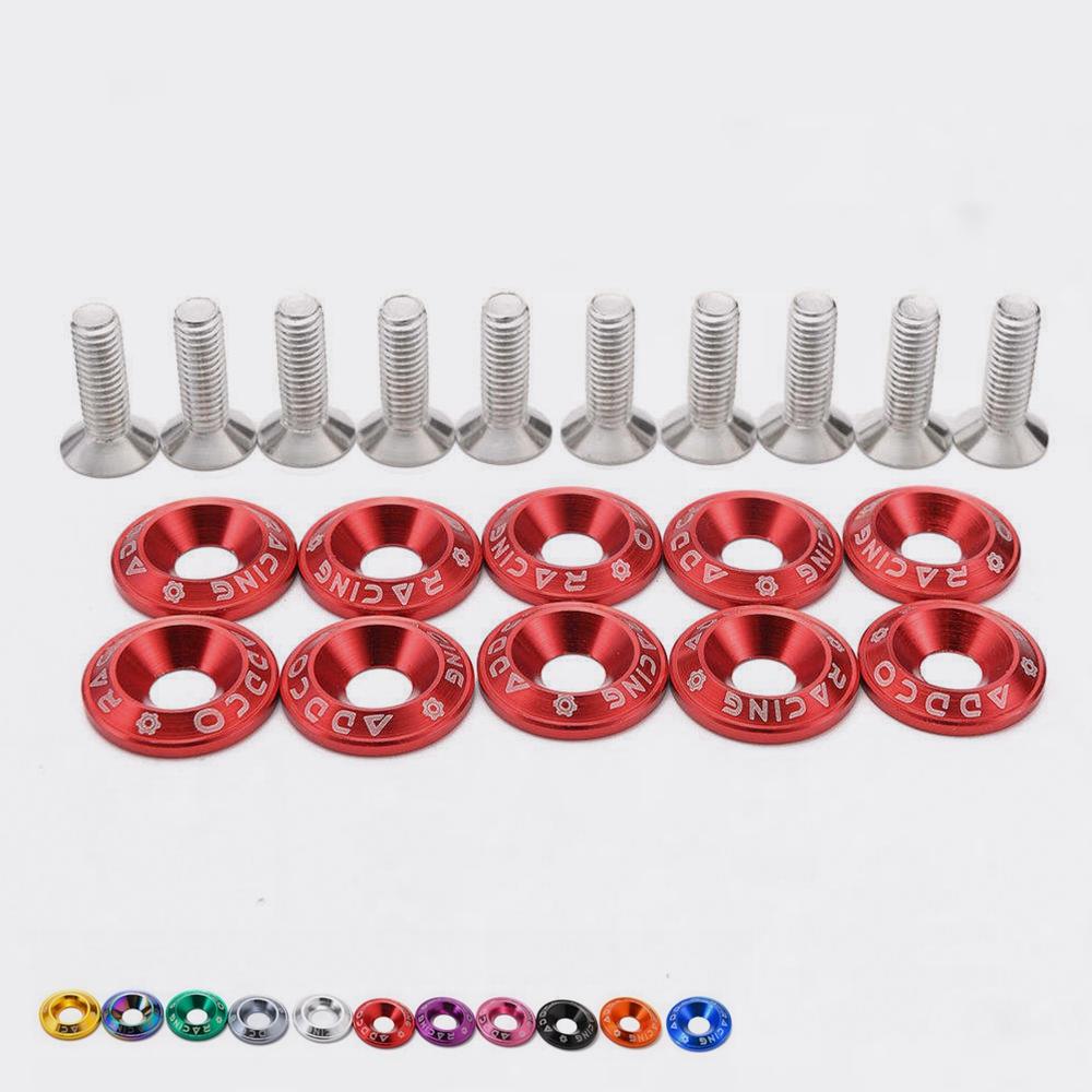6 PC RED BILLET ALUMINUM FENDER//BUMPER WASHER//BOLT ENGINE BAY DRESS UP KIT