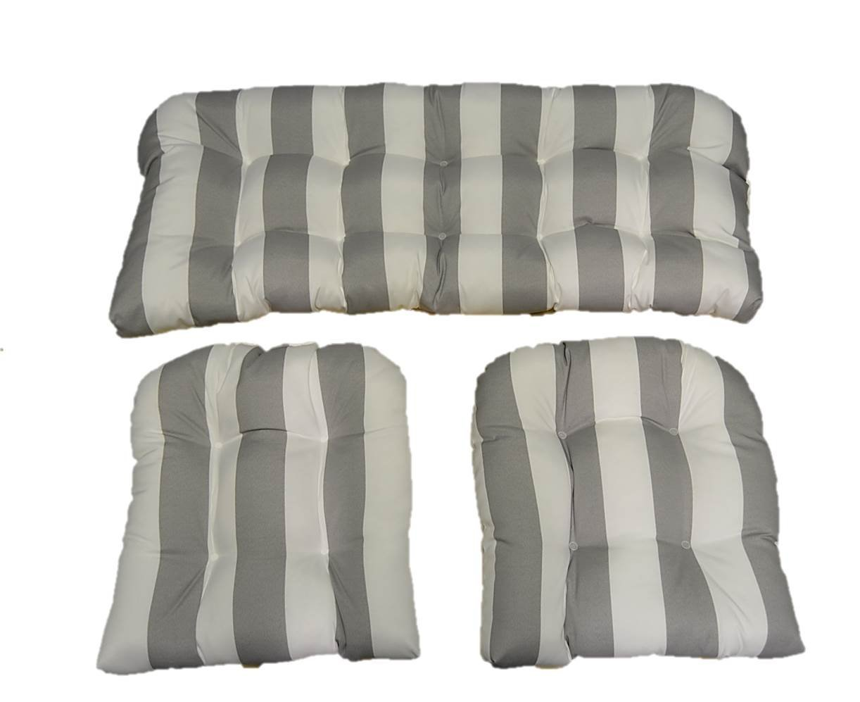 3 Piece Wicker Cushion Set - Gray / Grey and White Stripe Indoor / Outdoor Fabric Cushion for Wicker Loveseat Settee & 2 Matching Chair Cushions