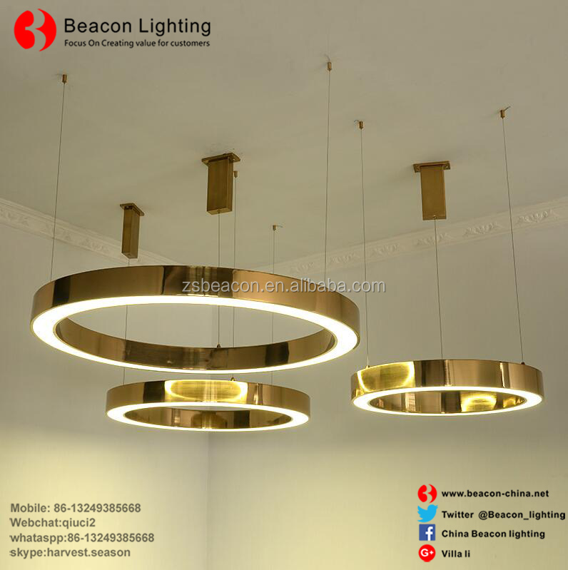 stainless steel gold led pendant round hotel light