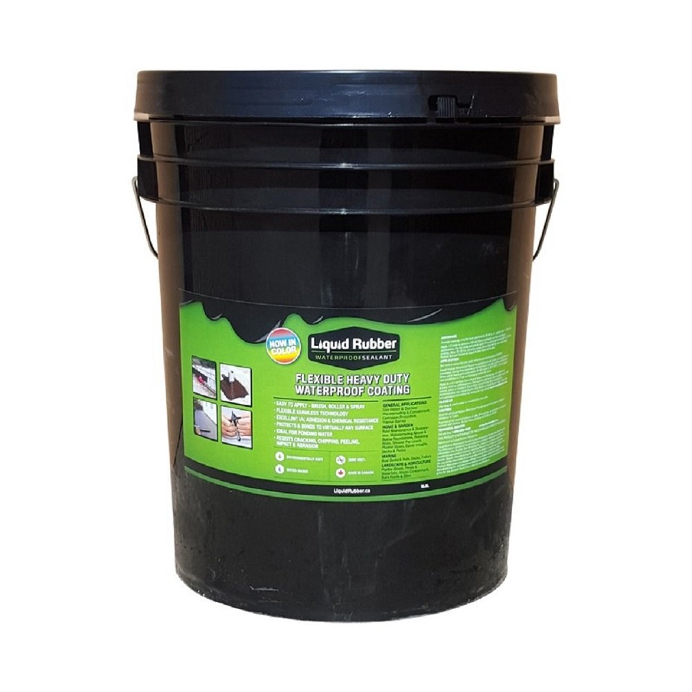 Liquid Rubber Waterproof Sealant/Coating - 5 Gallon - Original Black - Environmentally Friendly - Water Based - No Solvents, VOC's or Harmful Odors - Easy to Apply - No Mixing - TOP SELLER
