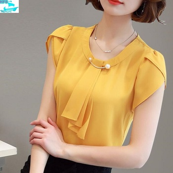 d70670b11cb HFS1259B Summer Korean Style Fancy Elegant Women Chiffon Tops Blouses