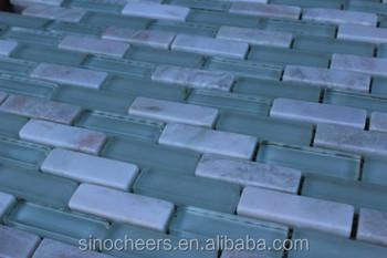 Verde bianco mattonelle di mosaico di maglia marmo pietra di vetro