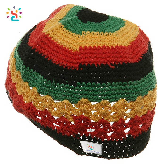 Wholesale Free Rasta Hat Crochet Pattern Beanie Knitted Cap Winter