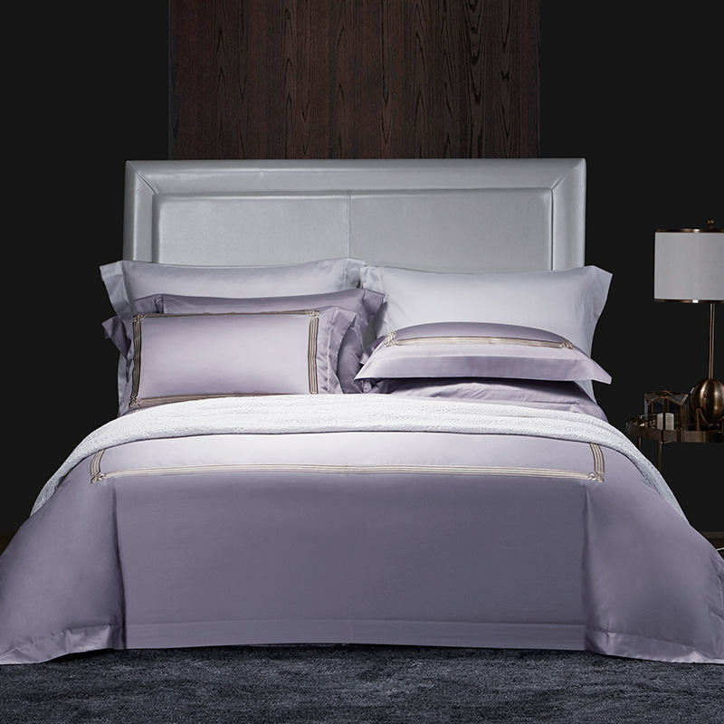 High-end 4pcs grey satin duvet cover 100% cotton embroidered purple bedding set