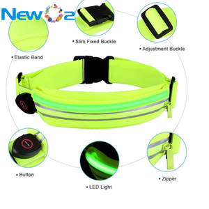 Wholesale light weight size adjustable USB rechargeable LED running pouch waist belt pack