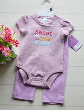 Carters 2 Piece Baby Suits Girls Short Sleeves Bodysuit Pants 100 Cotton Infant Sets Kids Clothes