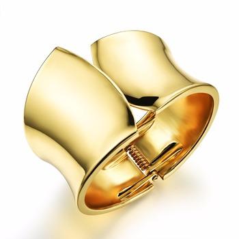 Gold Plated Bangle Woman Jewelry Wide Bracelet Open For Women 18k Bracelets Whole Kh489