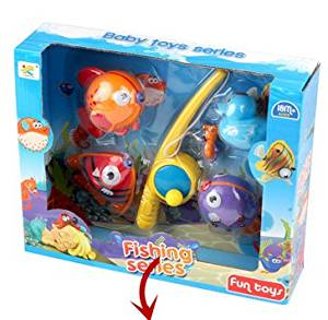 Tub Toys, OBOSOE Magnetic Toddler Toys Fishing Toy Game Kids Fish Baby Bath Toys Fun for Age 1-3