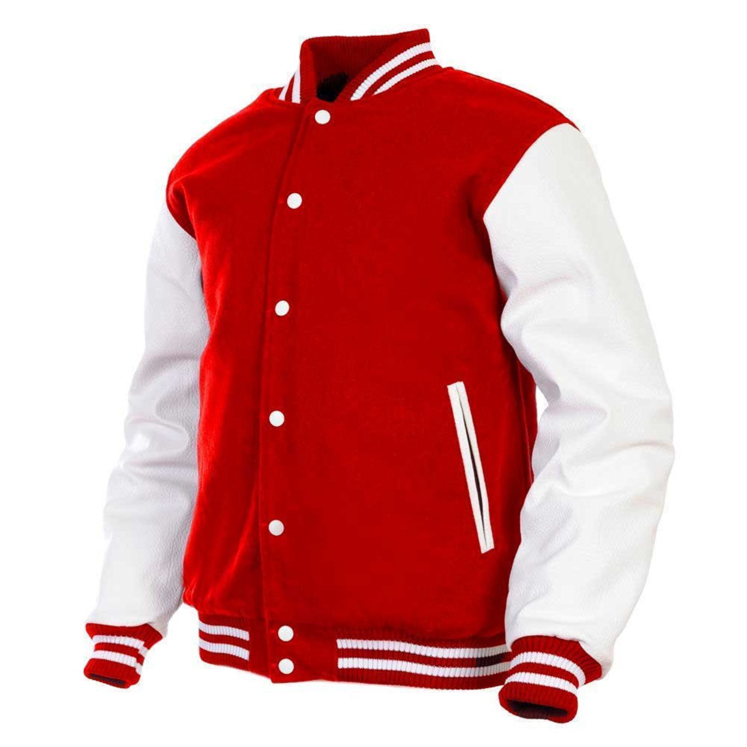 39c260a1d Get Quotations · GENZ Mens Women Varsity Jacket Faux Leather Sleeve and Wool  Blend Letterman College Varsity Jackets