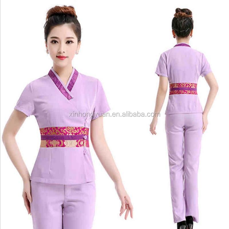 Custom fashion women thai spa uniform tops buy spa for Uniform thai spa