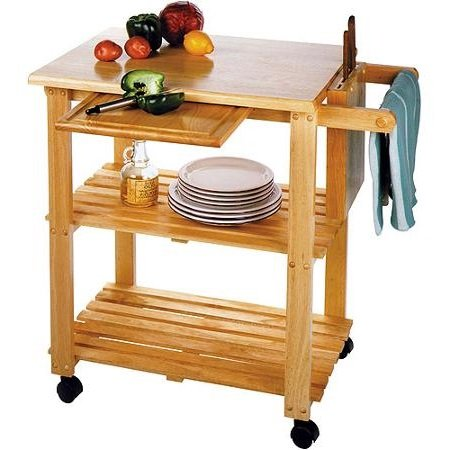 Kitchen Storage Cart with Solid Wood Cutting Board, Knife Block, Makes the Perfect Microwave Shelf Unit