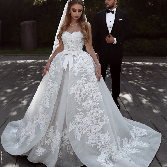 Sweetheart Overskirt Lace Wedding Dresses In Turkey Fashionable Bridal Gowns 2018 Dress Gown