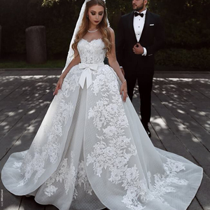 Sweetheart Overskirt Lace Wedding Dresses