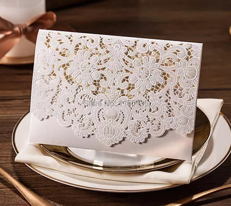 Where To Buy Wedding Invitation Paper: Laser Cut Wedding Invitations Gold Silver Paper Blank
