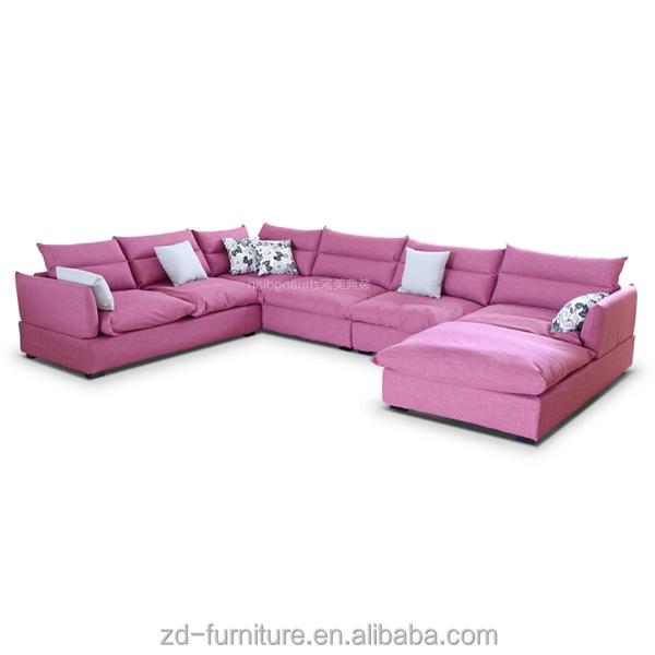 Pink sofa set for living room romantic sofa set u shape fabric sofa