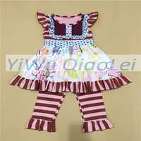 Cheap baby clothes free shipping baby soft knit cotton stripe flutter set boutique outfits