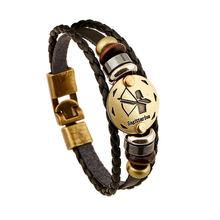 12 браслетов с созвездием, кожаный браслет зодиака для мужчин и женщин, Ювелирное Украшение в стиле рок, уникальный сплав, знак, винтажный пан...(Китай)