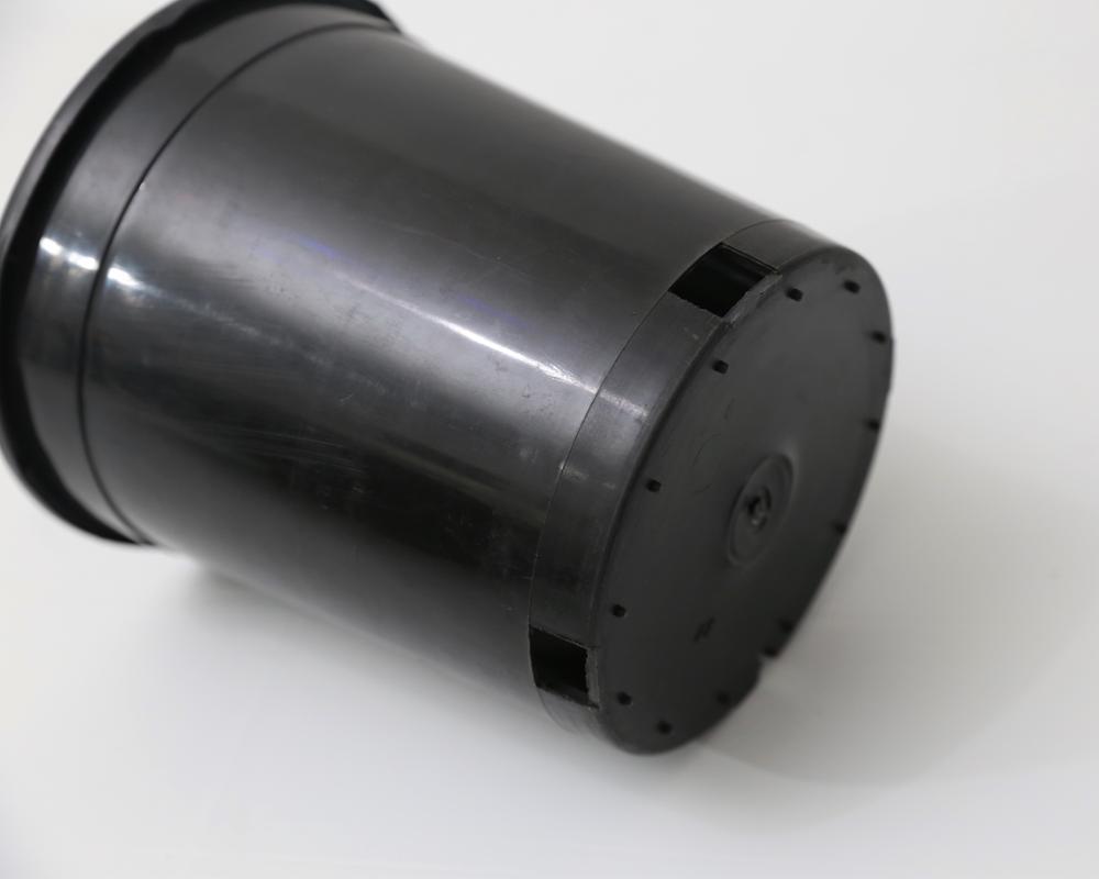1/2/3/5/6/7 แกลลอนรอบสีดำกระถางดอกไม้พลาสติกด้านข้างท่อระบายน้ำ