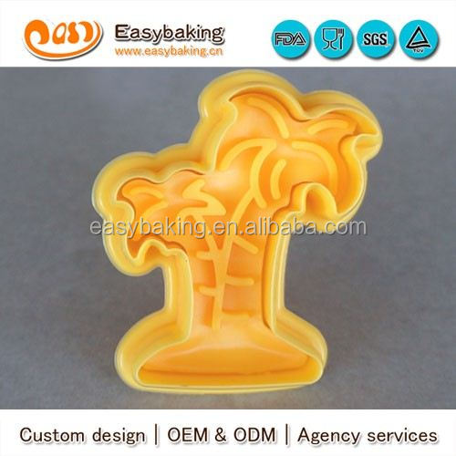 CP-0332 Customized coconut tree Stamp Plastic Cookie Cutter