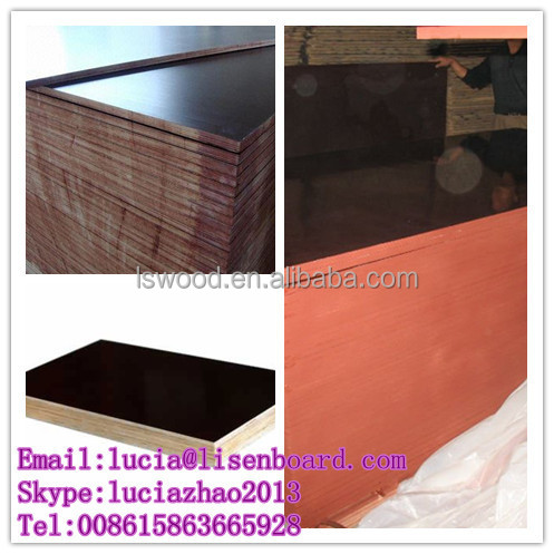concrete construction board with black film faced plywood , wooden construction board , 3 ply shuttering panels