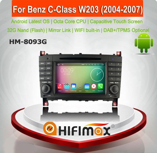HIFIMAX Android 6.0 capacitive touch screen dvd gps for mercedes benz c-class w203 car dvd player