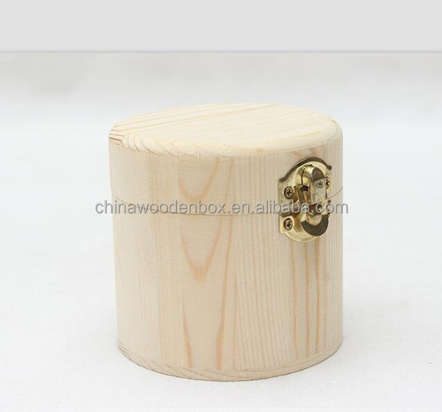 Small round high glossy unfinished wood package box