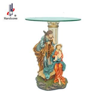 Catholic Religious Item Holy Family Figurines Glass Coffee Table Polyresin Statue
