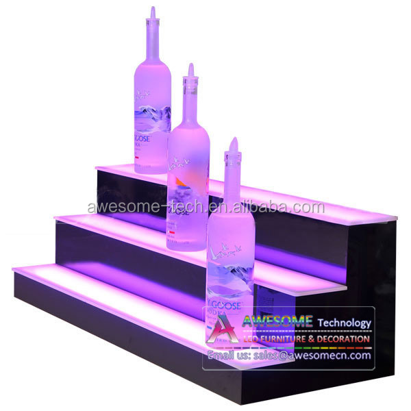 3 tiers Acrylic illuminated Liquor Bottle Display shelf, luminous plexi display shelves