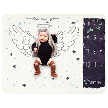 Manufacturer wholesale animal picture milestone cute custom printing baby blanket