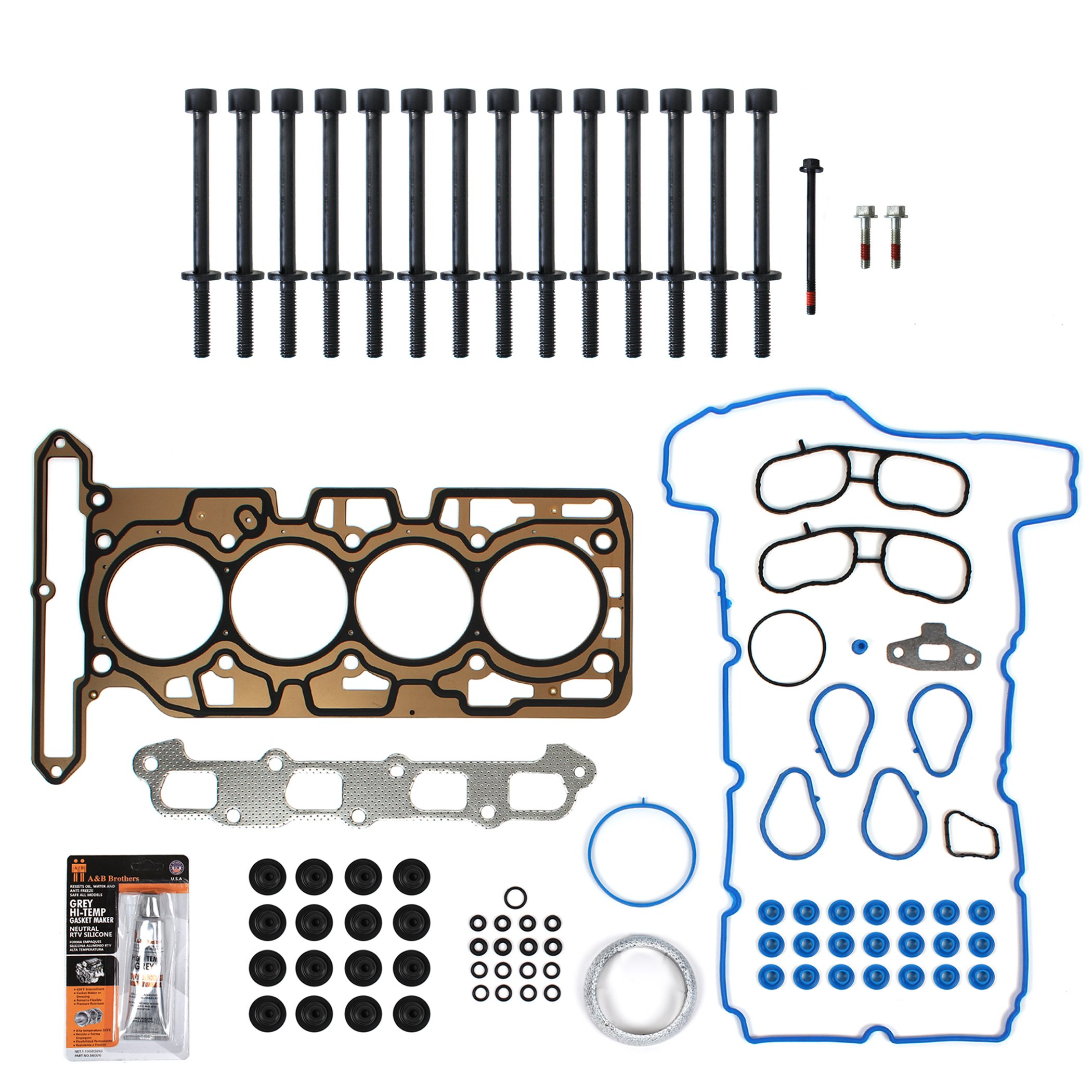 Get Quotations · New TS2638900HB MLS Cylinder Head Gasket Set, Head Bolt Kit,  & RTV Gasket Silicone