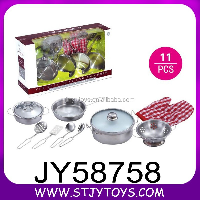Kids stainless steel toy kitchen play set with glass cover