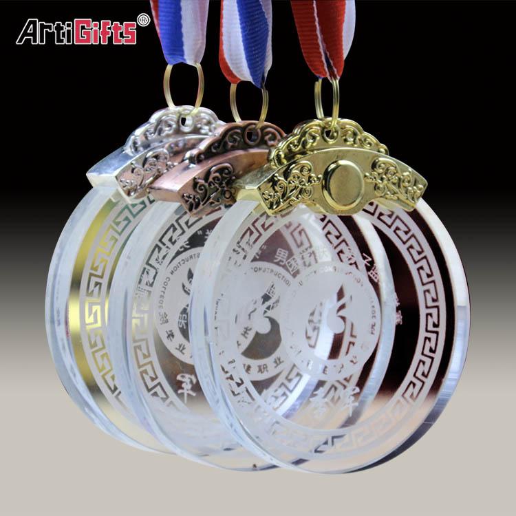 Bangkok nuevo diseño de baloncesto de buena conducta de cristal de acrílico trofeo premios medalla