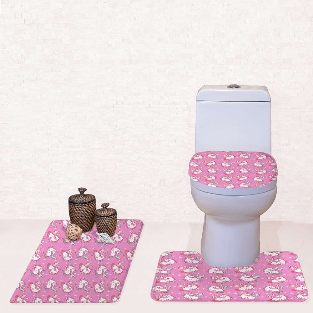 unicorn flamingo squishy pattern toilet mat set