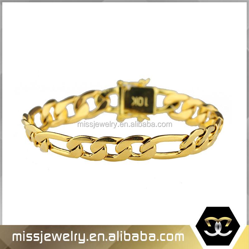 Hiphop men 916 gold bracelet weight gold bracelet figaro chain ...