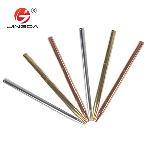 Promotional rose gold metal slim ball pen logo printed hotel pen