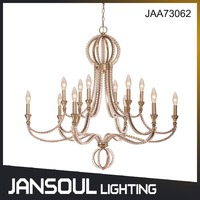JANSOUL big size dining room modern decorative nickel metal chandelier with crystal drop