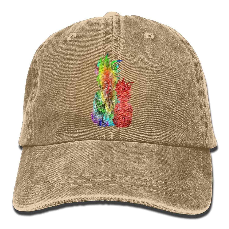 Adjustable Cowboy Style Baseball Cap Hat Colorful Modern Pineapple Unisex Vintage Washed Dyed Cotton Plain Cowboy Cap