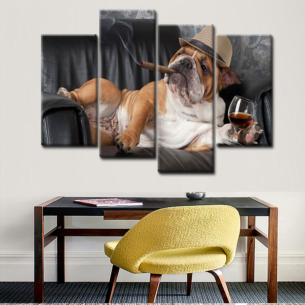 High Quality 5 Panel Canvas Print Painting Hd Fat Dog Smoke Wall Decor  Painting For Bedroom Decor - Buy 5 Panel Canvas Print Painitng,Hd Fat Dog  ...