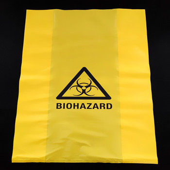 High Temperature Resistant Poly Biohazard Waste Bags With Warning
