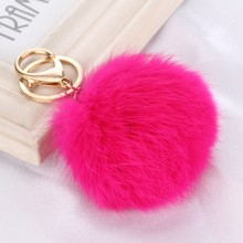 Pick 15 colors 8CM Genuine Leather Rabbit fur ball plush key chains car key rings Bag Pendant car key chain
