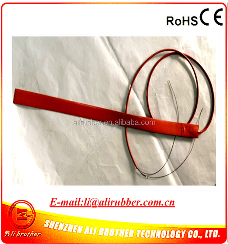 PVC Pipe Heater Silicone Rubber Heater 12v 50w 29.9*609.6*1.5mm 1270mm lead wire come out from short side XD-H-D-1353