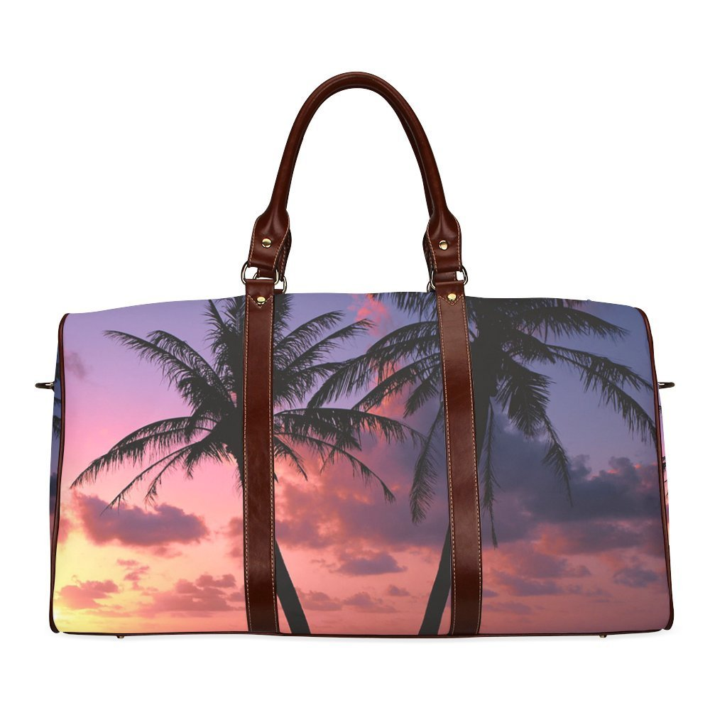 f6188dcde30f Get Quotations · Colorfull Palm Custom Waterproof Two-sided Printing Travel  Duffel Bag Canvas Tote Luggage Bag Leather