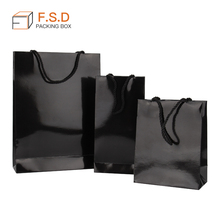 FSD factory price handle cute 크래프트 custom logo printing drawstring black gift <span class=keywords><strong>종이</strong></span> 포장 보석 bag