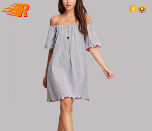 Wholesale Pom Pom Striped Off-the-Shoulder Dress Women With Tent Silhouette