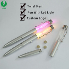 Logo Promotional Metal Clip Pen With Led, Glow in the Dark Pen, Ballpoint With Led