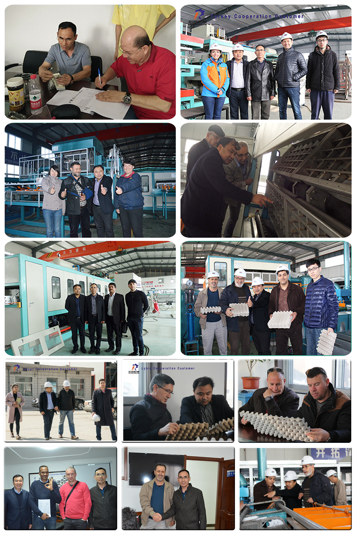 Customer visting egg tray machine workshop
