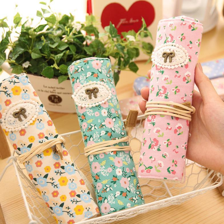 2015 Sale Direct Selling Pencilcase Pencil Case Stationery Sweet Countryside Fresh Flowers Roll Portable Pen Case