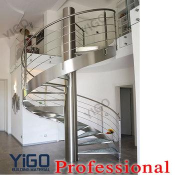 Indoor Steel Metal Spiral Stairs/metal Spiral Stairs Led Lighting